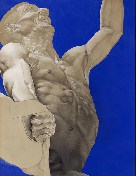Incrust Bleue N°2, mine de plomb, graphite et aérosole sur papier, 50×85 cm.