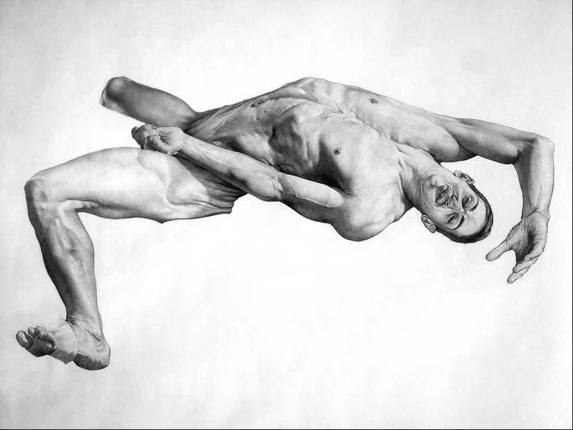 Lutte pour l'étendard, détail, graphite sur papier, 270×270 cm.