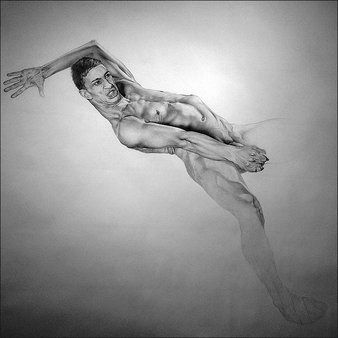 Saint Georges combattant le dragon, détail, graphite sur papier, 270x270cm
