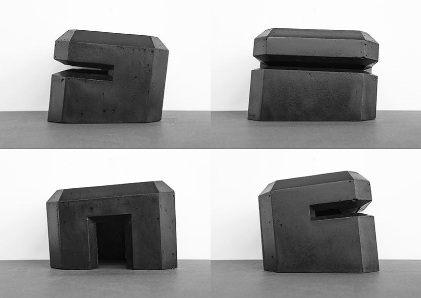 Dunkel Regelbau Collapse, béton, peinture et encre à taille douce, 15,5 x 20 x 17 cm, 2018